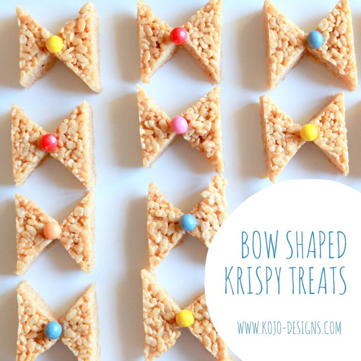 how to make bow shaped rice krispy treats - fun for a baby shower (bow ties or hair bows?!)