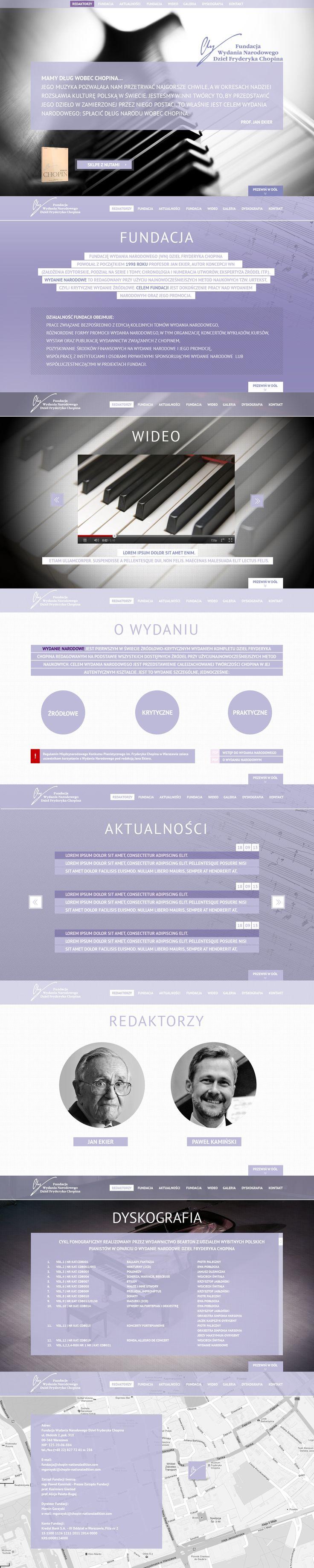 Projekt strony WWW dla Fundacji Wydania Narodowego Dzieł Fryderyka Chopina. Koncepcja.