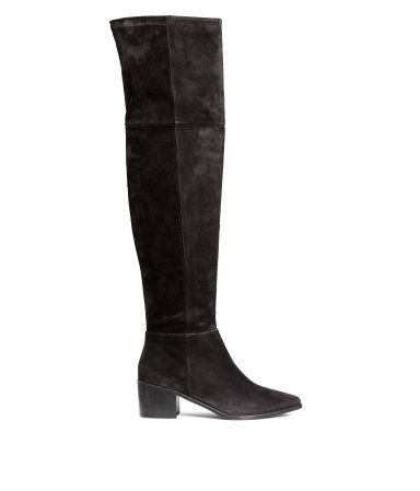 Product Detail | H&M HR  KN999  PREMIUM QUALITY. Thigh-high suede boots with pointed toes, elastication at the top at the back, a zip in the side and rubber soles. Heel 6 cm.
