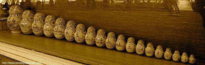 Have you seen so many Matryoshka (a.k.a babushka) dolls in a row?