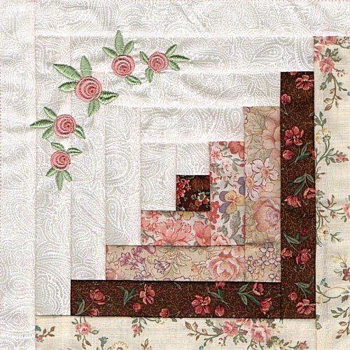 Hermoso bloque de cuadros  con rectángulos y bordado con rosas