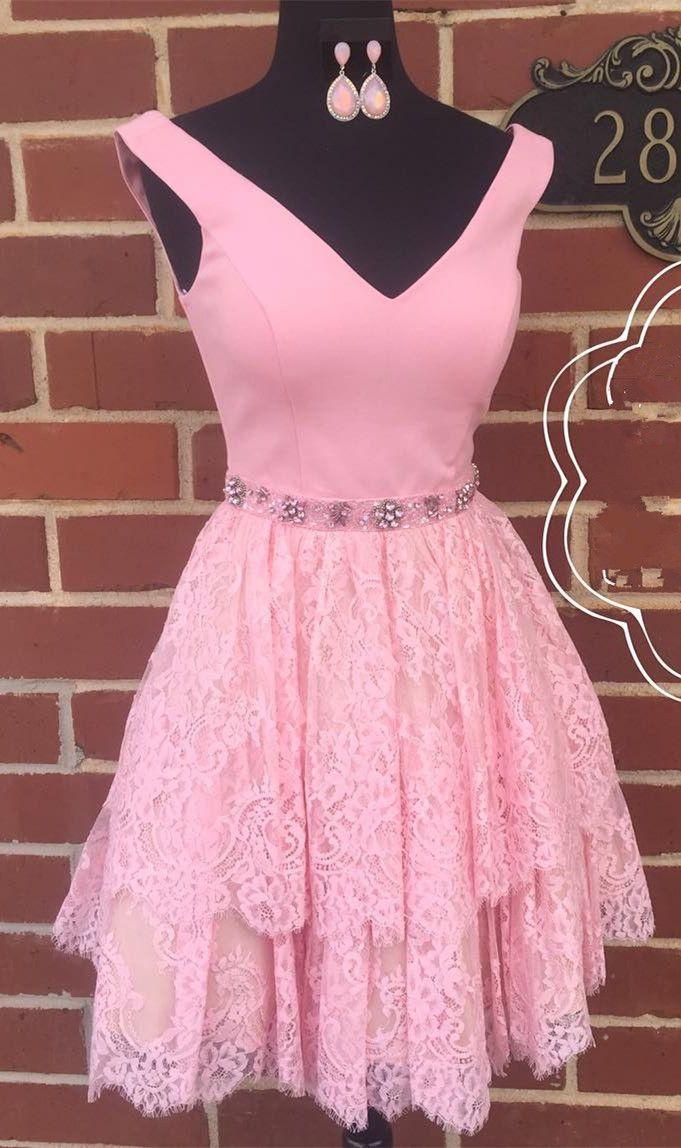 homecoming dress, 2017 homecoming dress short prom dress, short pink homecoming dress, pink lace short homecoming dress, back to school