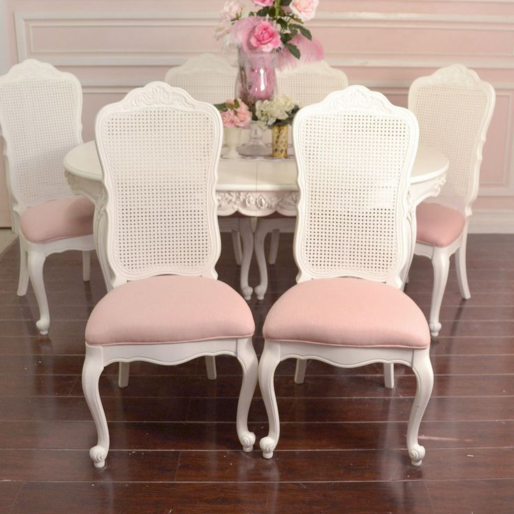 stunning pink shabby chic things | Shabby Cottage Chic Set 6 Dining Chair White Cane Back Pink Linen ...
