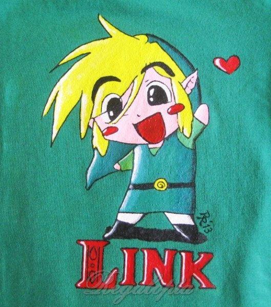 Hand painted Link T-shirt / Camiseta chibi Link ( The Legend of Zelda ) pintada a mano por Regalopia en Etsy http://www.ebay.es/sch/i.html?_odkw=&_osacat=1249&_armrs=1&_ssn=regalopia&_trksid=p2045573.m570.l1313&_nkw=&_sacat=0&_from=R40  http://es.etsy.com/listing/126620701/camiseta-nino-hada