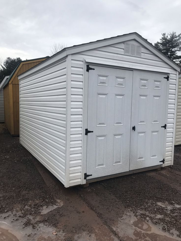 8 x 12 vinyl standard shed white vinyl siding w white