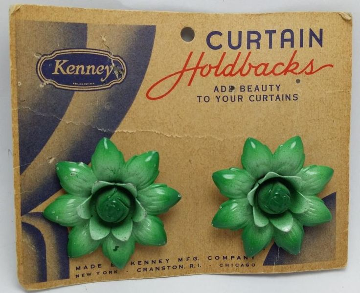 Vintage Green Flower Curtain Holdbacks Push Pin Style #Kenney