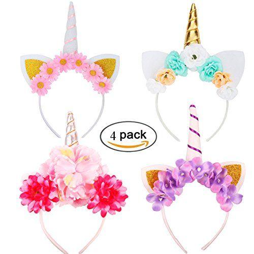 4PCS Serre-tête licorne avec Fleurs Halloween Chapeau Déguisement Bandeau Feutre Corne Oreilles Mignon Licorne Unicorn pour Cosplay Costume…