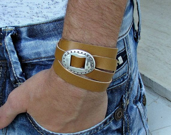 Leather Wrap Bracelet Mens Womens Multi-strand Leather by GUSFREE