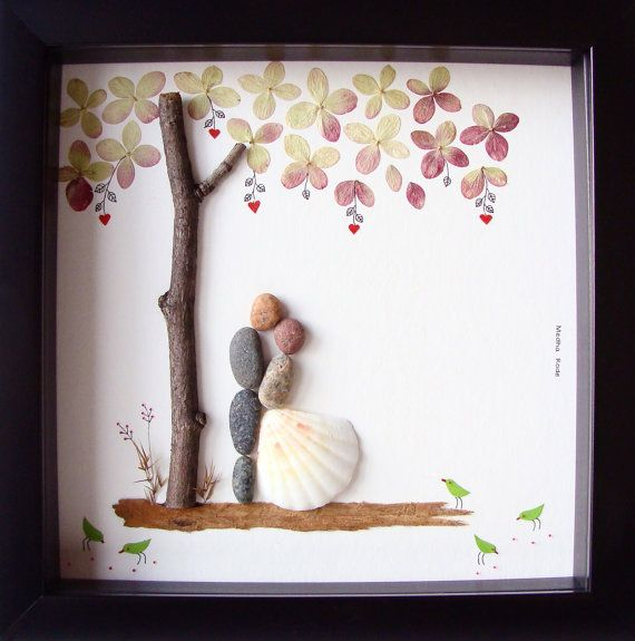 Unique Wedding Gift For Couple- Wedding Pebble Art- Unique Engagement Gift- COUPLE Gift- Bride and Groom Gift- OOAK- Pebble Art by MedhaRode