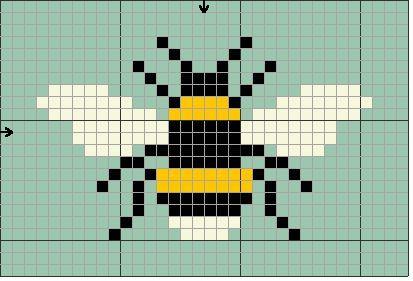 Cross stitching bee free pattern / Kreuzstich Biene Vorlage