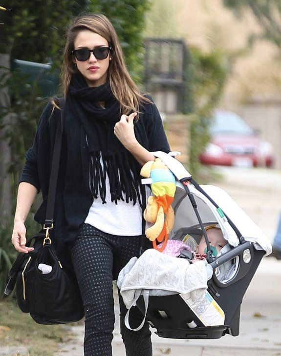 Jessica Alba and Haven with the Orbit Baby Infant Car Seat G2.