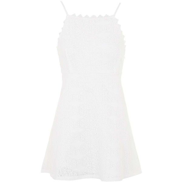 TOPSHOP PETITE EXCLUSIVE Crochet Dress (120 BRL) ❤ liked on Polyvore featuring dresses, cream, petite, petite dresses, square neck dress, cream fitted dress, white crochet dress and cream crochet dress