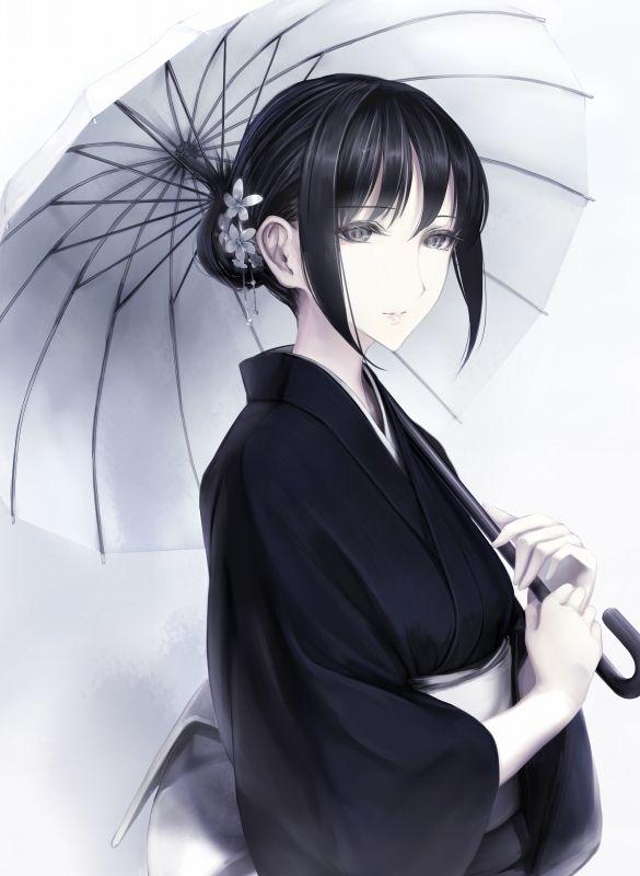 anime girl art #japanese #umbrella #traditional - She seem sad but still elegant and composed.