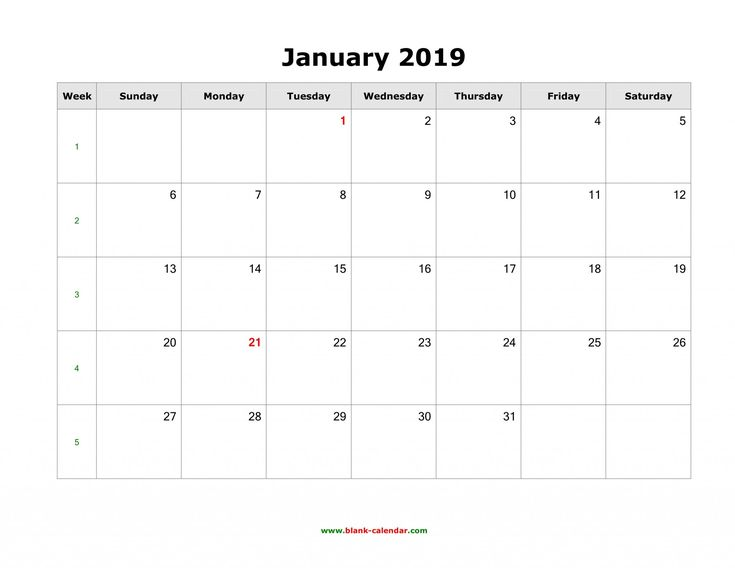 January 2019 Calendar landscape Blank January 2019 Calendar