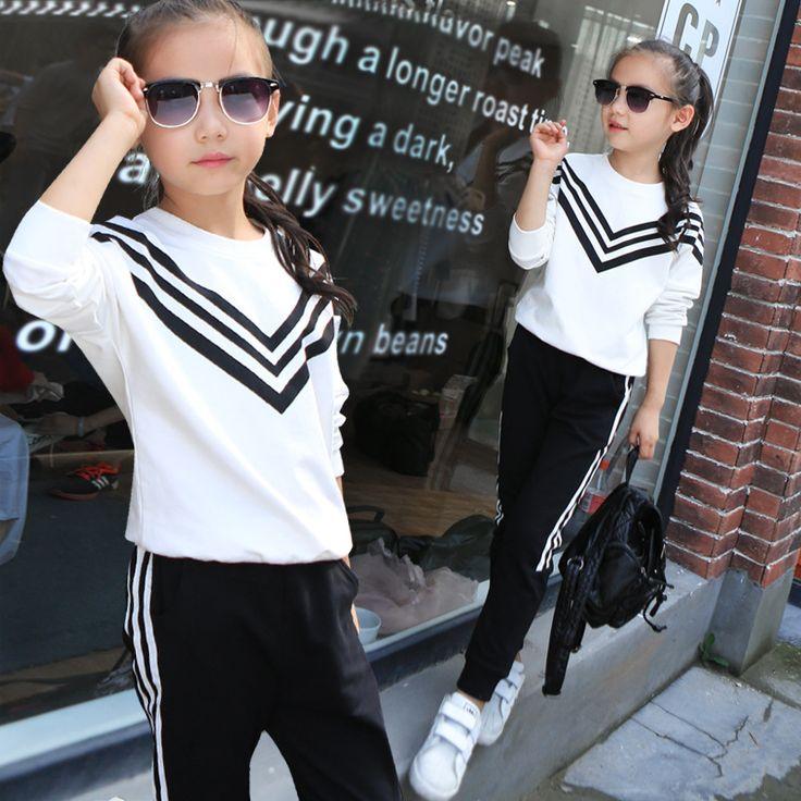 $20.12 (Buy here: https://alitems.com/g/1e8d114494ebda23ff8b16525dc3e8/?i=5&ulp=https%3A%2F%2Fwww.aliexpress.com%2Fitem%2Fautumn-girls-striped-sportswear-suit-2pcs-long-sleeve-children-white-black-polyester-kids-pullover-sports-set%2F32700260780.html ) autumn girls striped sportswear suit 2pcs long sleeve children white black polyester kids pullover sports set clothing FD154 for just $20.12