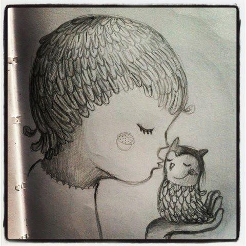 Een kus voor een lief uiltje! 'Uilenjong' potlood tekening door Ati van Twillert / 'Owl young' pencil drawing by Ati van Twillert