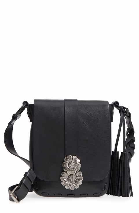 1e305cf9f122 Saint Laurent Floral Clasp Leather Crossbody Bag