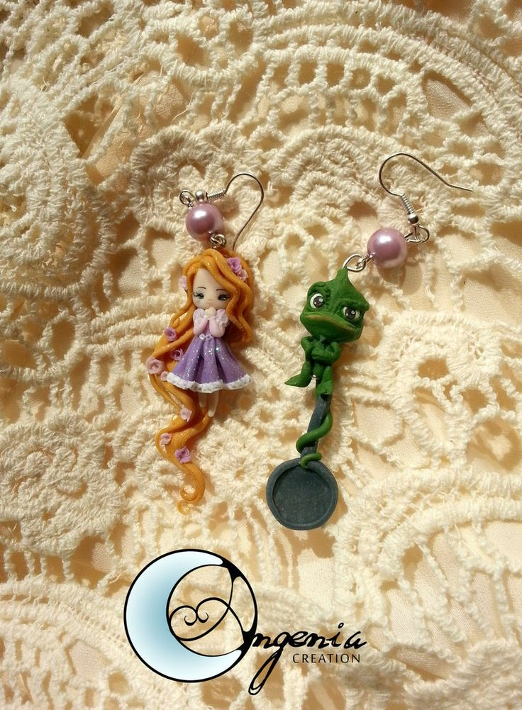 earrings rapunzel and pascal by ~AngeniaC on deviantART