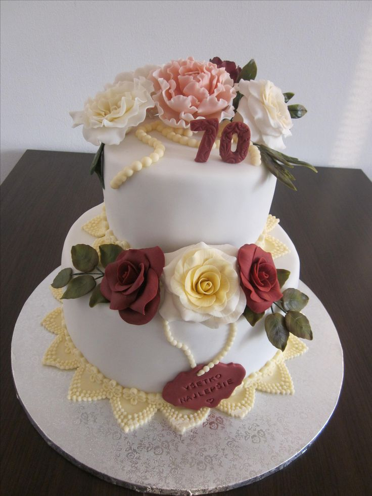 Cake with peony and rosses
