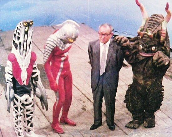 on the set of Ultra Seven with Eiji Tsuburaya