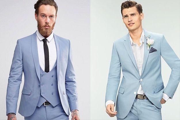 Blue Man suit for grooms and groomsmans // Elegant Blue suit for man // Costume bleu clair pour un mariage durant l'été