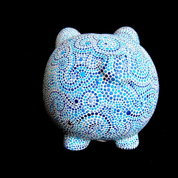 Hand Painted Piggy Bank Blue and white Dot by PearlesPainting