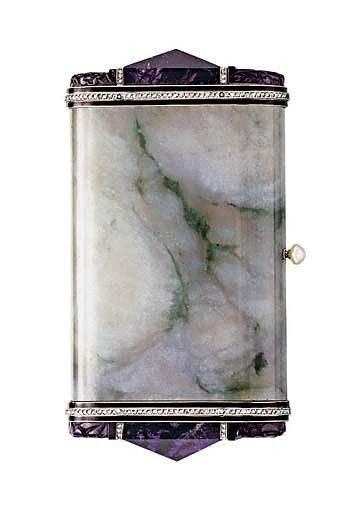 AN ART DECO JADE, AMETHYST AND DIAMOND VANITY CASE, BY VAN CLEEF & ARPELS , circa 1930,