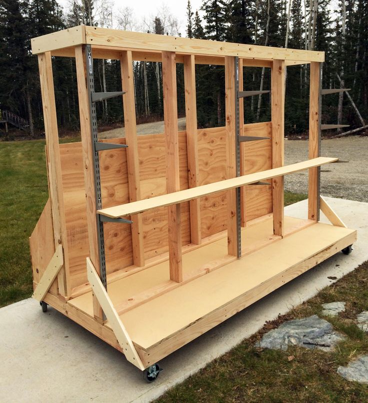 238 best lumber rack images on pinterest lumber rack for Rolling lumber cart plans