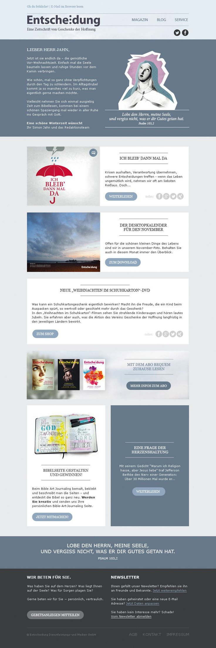 """Das Themenspektrum unserer Kunden ist unwahrscheinlich breit und so entstand dieses #Newsletterdesign für eine Zeitschrift von """"Geschenke der Hoffnung"""".  #Email #Emailmarketing"""