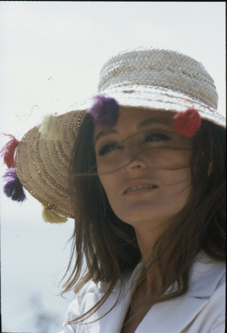 """Portrait of actress Anouk Aimee on the set of """"Justine"""", directed by George Cukor 1969."""