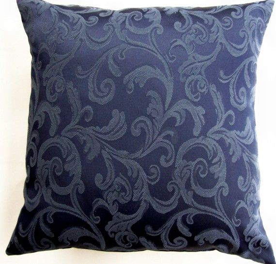 Dark Blue Pillow Cover  Navy Blue Throw Pillow by sassypillows, $19.99