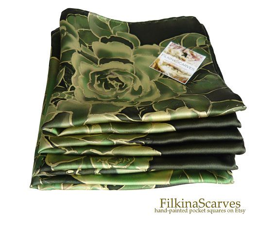 Silk Pocket Square Hand-Painted in Olive Green and Brown