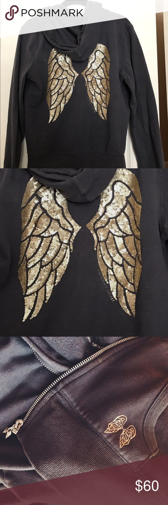 Victoria's Secret Wings Hoodie Gold sequin wings on the back. Zips all the way down in the front. Size medium. Victoria's Secret Tops Sweatshirts & Hoodies
