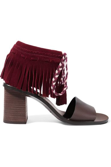 See by Chloé - Fringed Suede And Leather Sandals - Burgundy - IT35.5