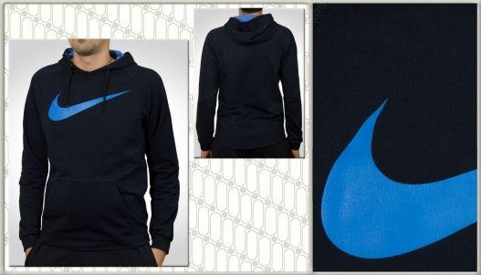 Ціна: 380 грн.  Пропонуємо Вам купити чоловіче худі Nike темно-синього кольору з двома суцільними кишенями. На лицевій стороні нанесено якісний значок Nike. Внизу худі без манжетки, ззаді вона трохи довша і заокруглена, детальніше дивіться фото №2. Тканина приємна на дотик, не м'яка, добре тягнеться. Етикетка зі складом тканини та способом доглядом за одягом відсутня. Країна-виробник худі Туреччина.