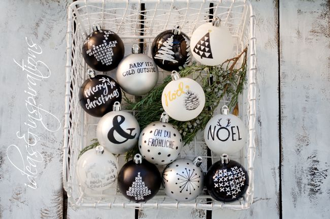 christmas ornaments Christbaumschmuck schwarz weiß silber black white silver diy painting advent dots jul home