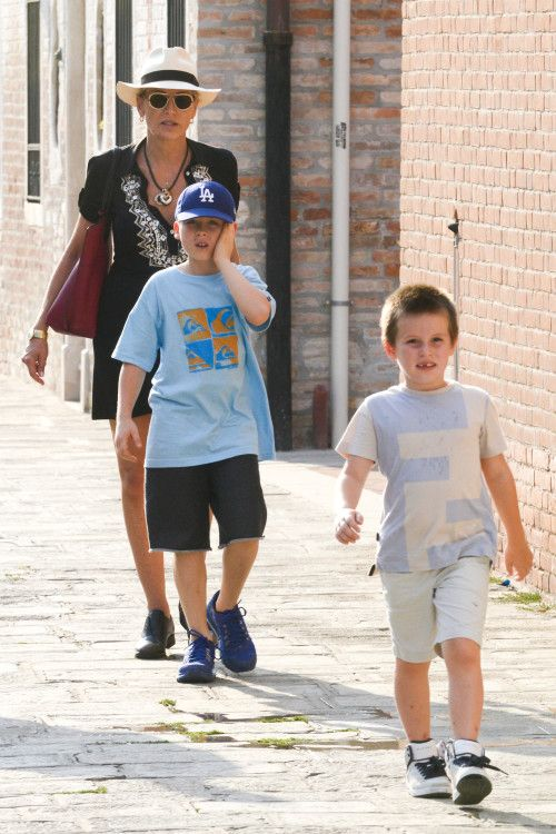 Sharon Stone spends some quality time with her boys in Italy