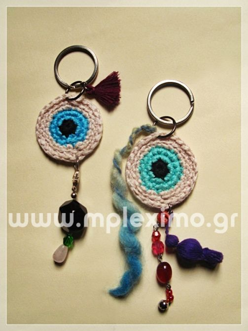 crochet evil eye charms/key rings