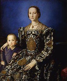 Agnolo Bronzino (1503 – 1572), was een van de belangrijkste vertegenwoordigers van de maniëristische stijl. In 1539 werkte Bronzino mee aan het decoratieprogramma voor de bruiloft van Cosimo I de' Medici met Eleonora van Toledo, van wie hij een portret maakte dat zijn bekendste zou worden. Zijn portretten worden beschouwd als de meest verfijnde van de 16e eeuw.