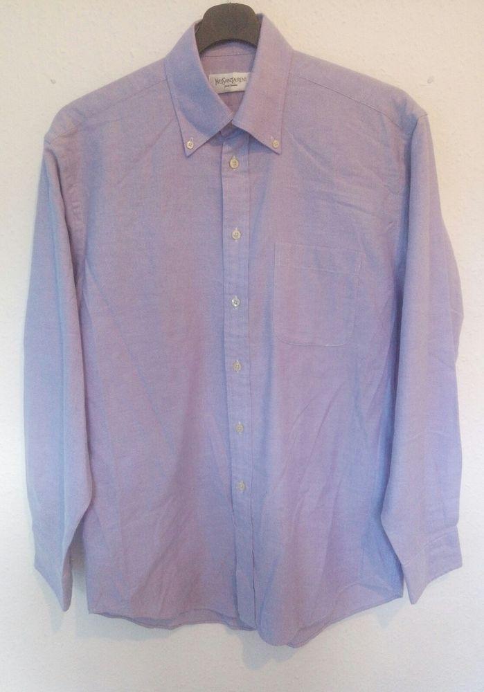 YVES SAINT LAURENT YSL Oxford Dress Shirt Embroidered Logo Light Purple 38 / 15