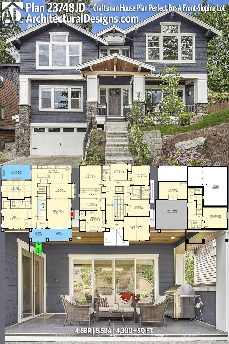 Architectural Designs House Plan 23748JD is perfect for your front-sloping lot. And has an elevator making it easier to go up and down! 5-6BR 5.5BA 4,300+SQ.FT. Ready when you are. Where do YOU want to build? #23748JD #adhouseplans #architecturaldesig