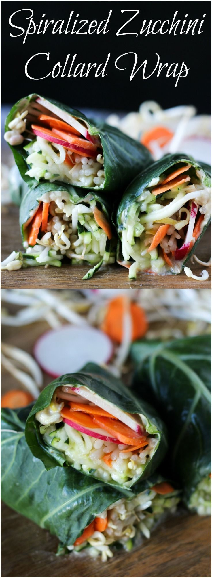 Spiralized Zucchini and Bean Sprout Collard Wrap, a healthy lunch that's gluten-free and vegan friendly l www.stephinthyme.com