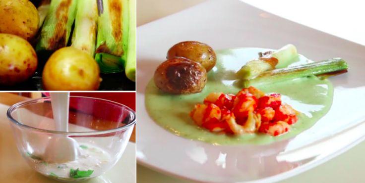 Pour accueillir l'hiver : écrevisses et poireaux avec pommes de terre grenaille
