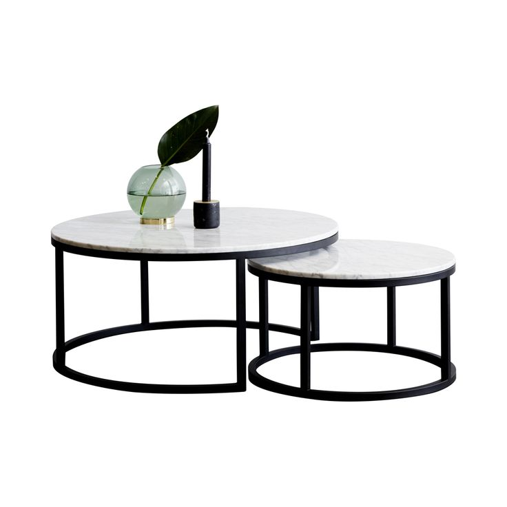 Modern Designer Round Nesting Marble Coffee Tables Black Steel Metal Base
