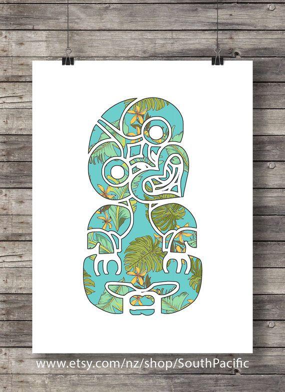 Tiki  Tropical art print  New Zealand Maori Tiki  by SouthPacific