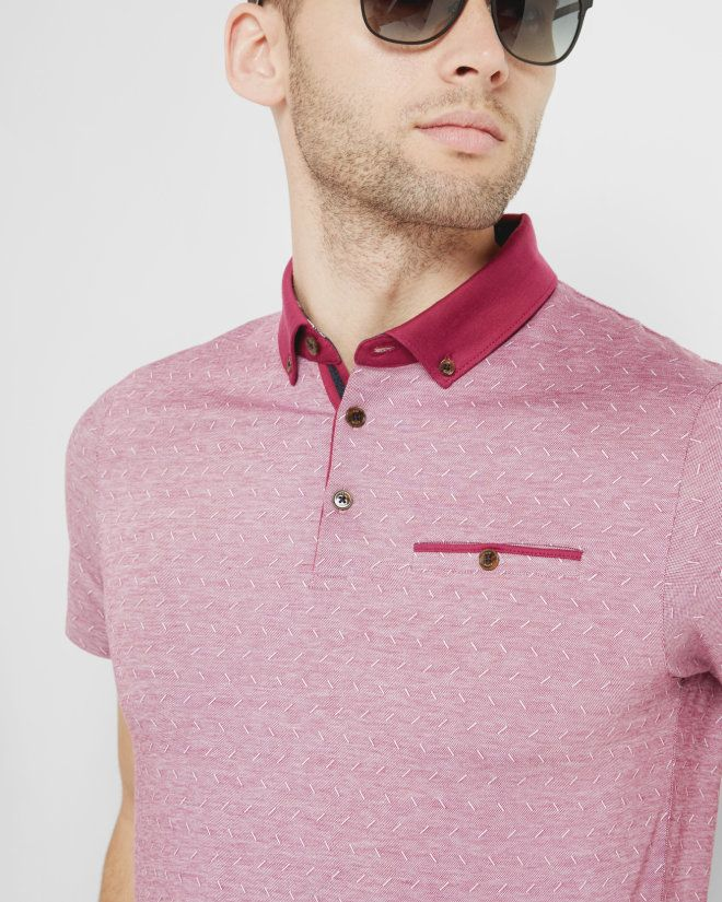 Jacquard cotton polo shirt - Pink | Tops & T-shirts | Ted Baker FR