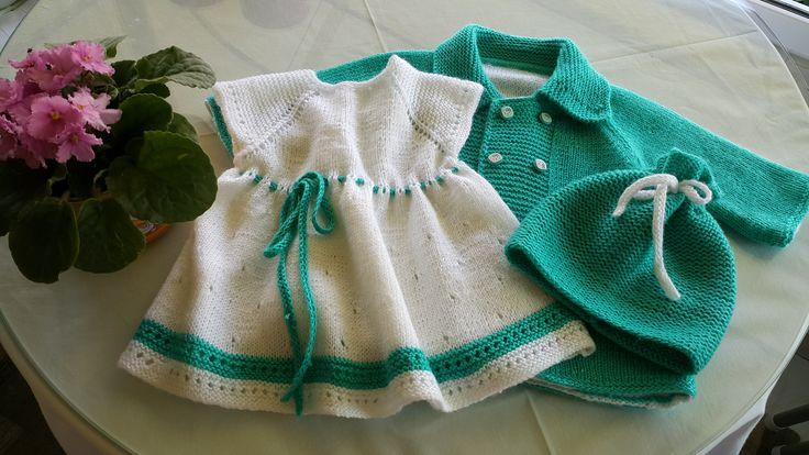 bebek hırkası, elbisesi ve şapkası