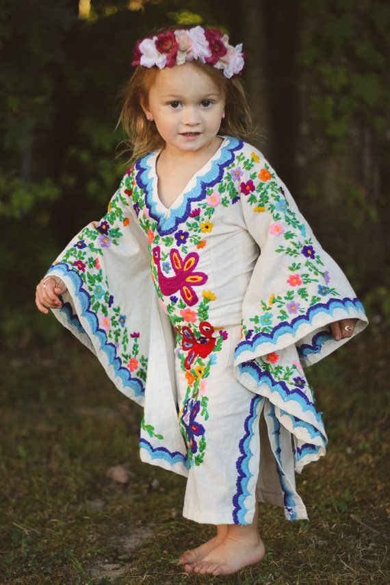 Bohemian Flower Girl Dress Mini Caftan by NewCropShop on Etsy