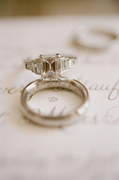 Emerald cut ring: http://www.stylemepretty.com/north-carolina-weddings/durham/2014/07/30/elegant-north-carolina-family-farm-wedding/ | Photography: Jen Fariello - http://jenfariello.com/