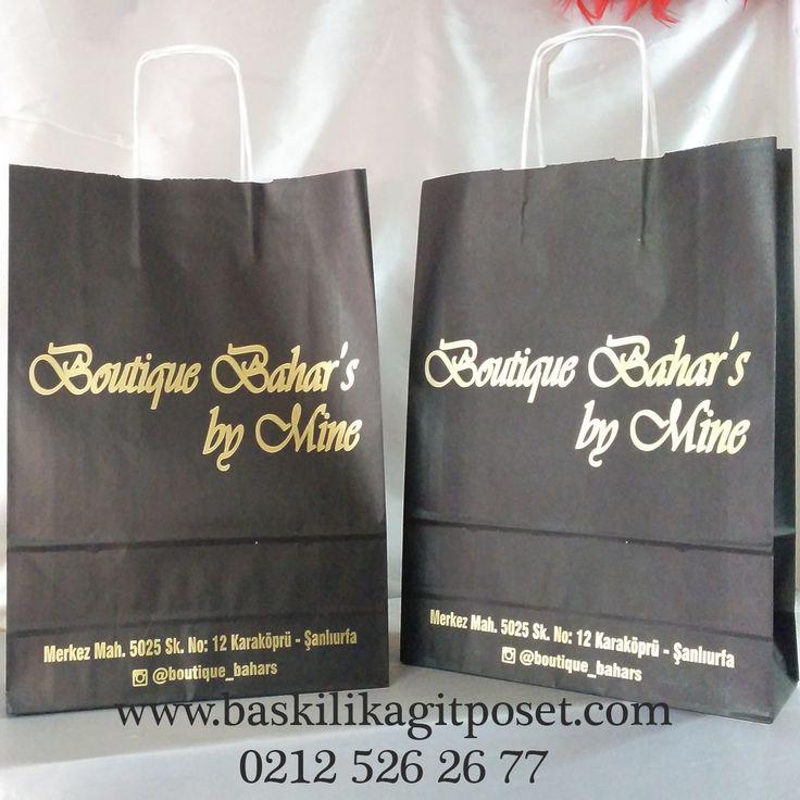 Gold Baskılı Siyah Kraft Poşet Mağaza Avm Fuar Poşeti | Beka Kağıtçılık |